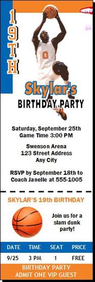 New York Knicks Colored Basketball Party Ticket Invitation