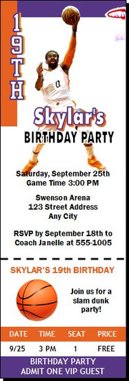 Phoenix Suns Colored Basketball Party Ticket Invitation