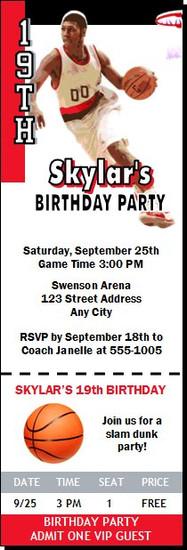 Portland Trailblazers Colored Basketball Party Ticket Invitation