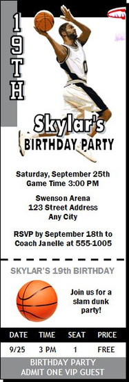 San Antonio Spurs Colored Basketball Party Ticket Invitation