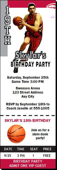 Toronto Raptors Colored Basketball Party Ticket Invitation