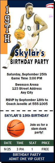 Utah Jazz Colored Basketball Party Ticket Invitation