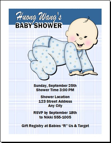 Asian Plaid Baby Shower Invitation
