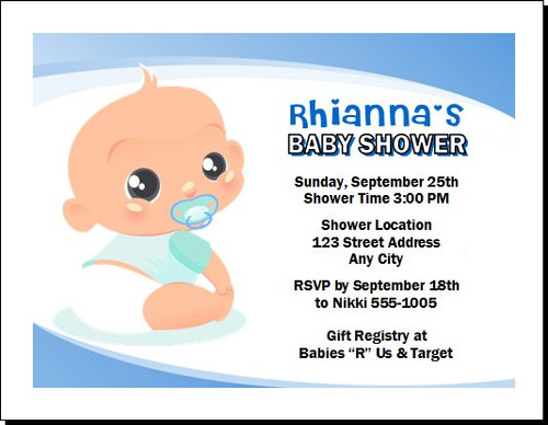 Baby Boy Blue Baby Shower Invitation
