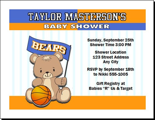 Basketball Teddy Bear Orange Baby Shower Party Invitation, Orange/Blue