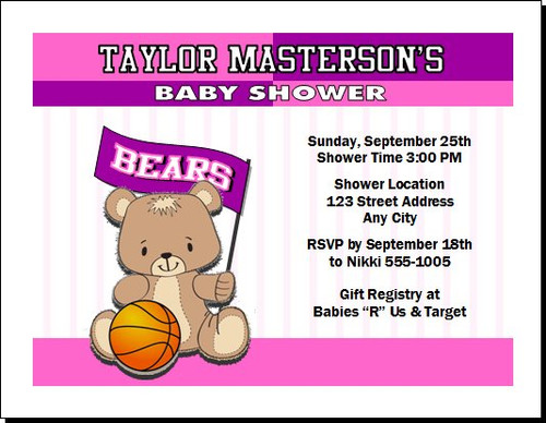 Basketball Teddy Bear Pink Baby Shower Party Invitation