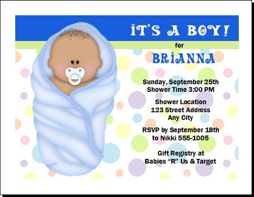 Blue Blanket African Baby Shower Invitation