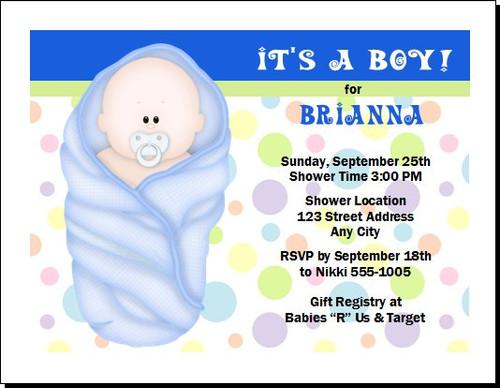 Blue Blanket Baby Shower Invitation