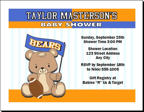 Football Teddy Bear Orange Baby Shower, Co-Ed, Diaper Party Invitation