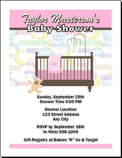Nursery Time Pink Baby Shower Invitation