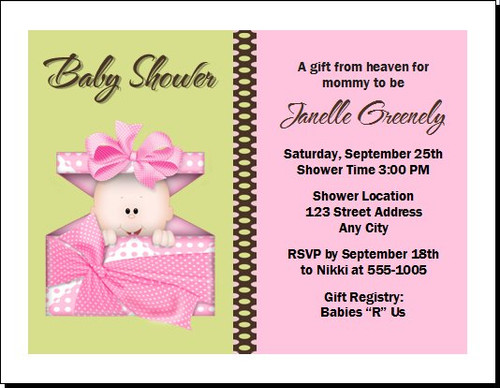 Pink Gift from Heaven Baby Shower Invitation