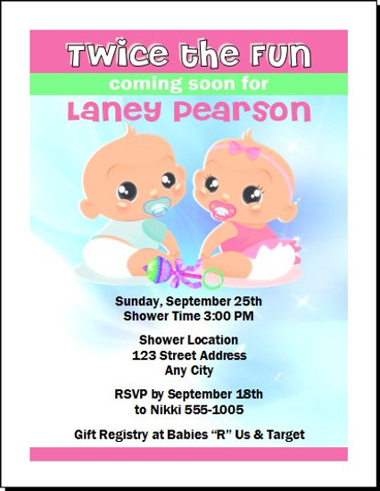 Twice the Fun Baby Shower Invitation