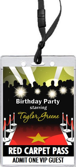 Red Carpet Paparazzi Birthday Party VIP Pass Invitation