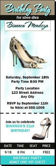 A Choo Stiletto Birthday Party Ticket Invitation