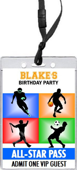 All Star Sports Birthday Party VIP Pass Invitation