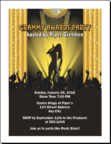 Music Awards Party Gold Invitation