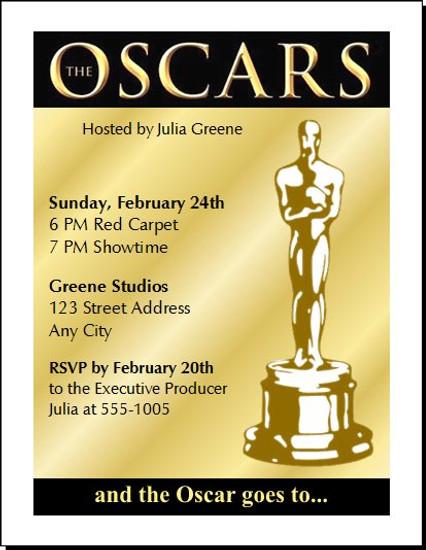 Oscar Awards Golden Party Invitation