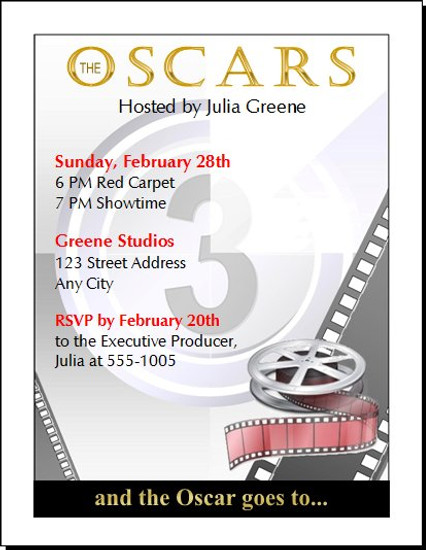 Oscar Awards Movie Reel Party Invitation