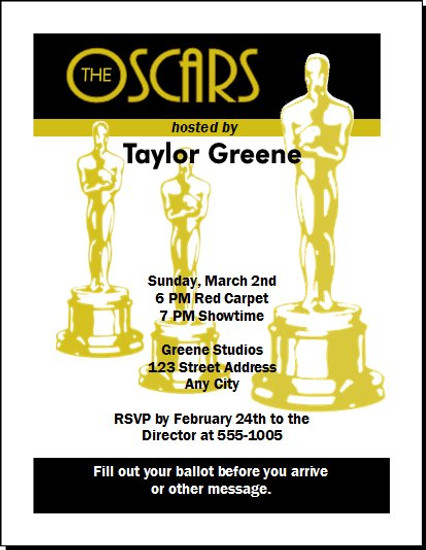 Oscar Awards Silver Party Invitation