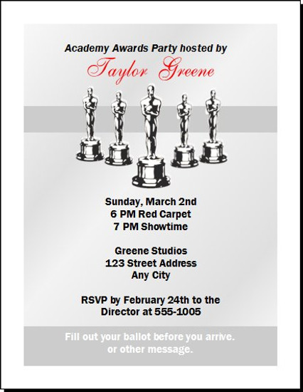 Oscar Awards Silver Party Invitation