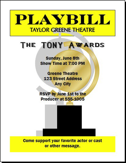 Tony Awards Playbill Party Invitation