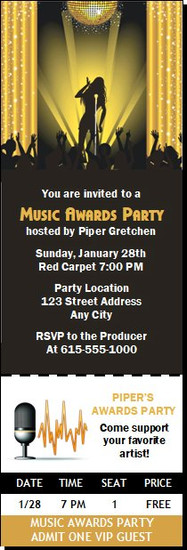 Music Awards Party Gold Ticket Invitation