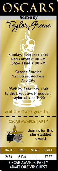 Oscar Awards Party Golden Ticket Invitation