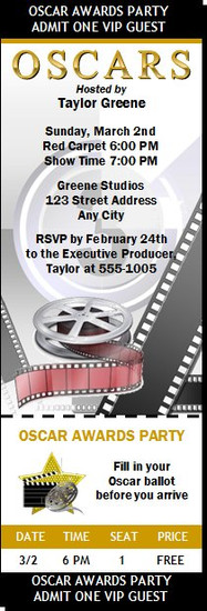 Oscar Awards Party Movie Reel Ticket Invitation