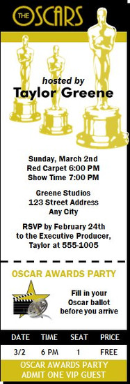 Oscar Awards Party Ticket Invitation