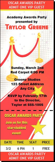 Red Carpet Oscar Awards Party Ticket Invitation