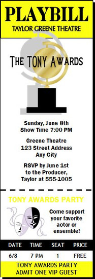 Tony Awards Party Playbill Ticket Invitation
