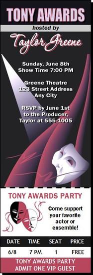 Tony Awards Party Theatre Star Ticket Invitation