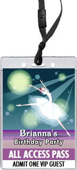 Ballerina Birthday Party VIP Pass Invitation