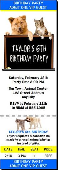 Animal Lover Birthday Party Ticket Invitation