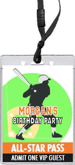 Baseball Slugger Birthday Party VIP Pass Invitation