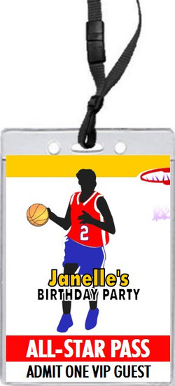 Basketball Girl Birthday Party VIP Pass Invitation