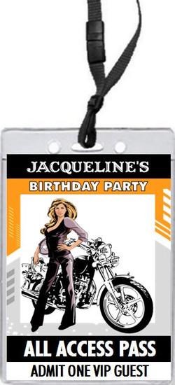 Biker Chick Birthday Party VIP Pass Invitation