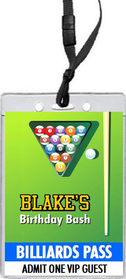 Billiards Table Birthday Party VIP Pass Invitation