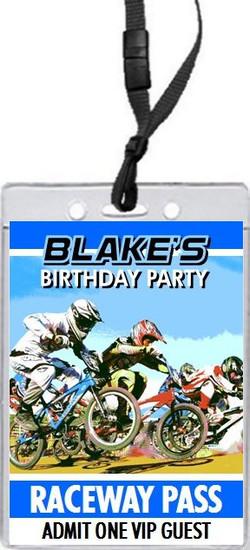 BMX Racing Blue Birthday Party VIP Pass Invitation