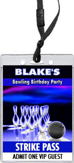 Bowling Cosmic Birthday Party VIP Pass Invitation