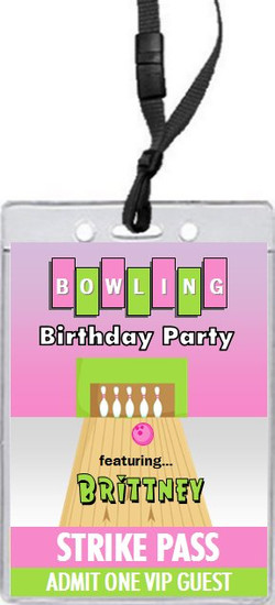 Bowling Pink Birthday Party VIP Pass Invitation