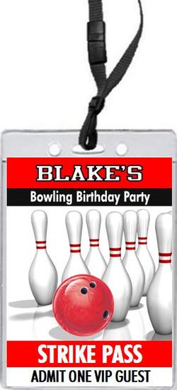 Bowling Birthday Party VIP Pass Invitation