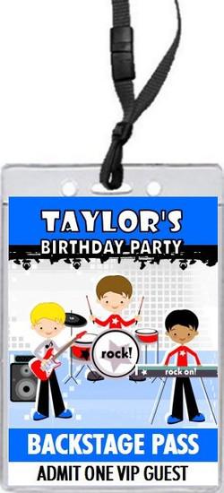 Boy Rock Band Blue Birthday Party VIP Pass Invitation