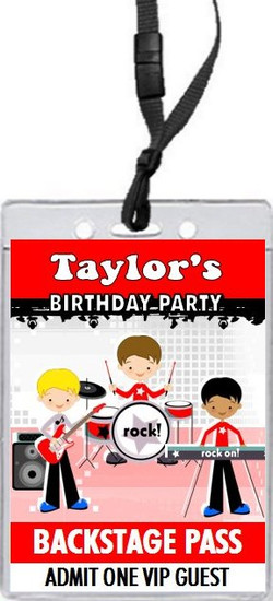 Boy Rock Band Red Birthday Party VIP Pass Invitation