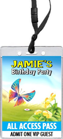 Butterfly Birthday Party VIP Pass Invitation