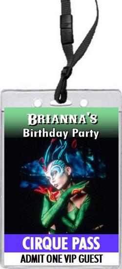 Cirque du Soleil Birthday Party VIP Pass Invitation