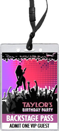 Concert Guitarist Female Birthday Party VIP Pass Invitation