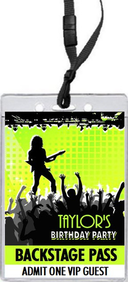 Concert Guitarist Male Birthday Party VIP Pass Invitation