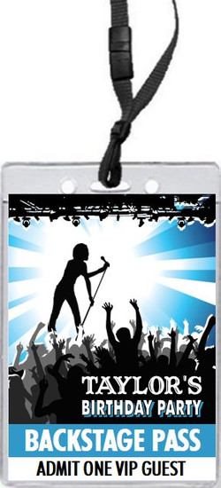 Concert Singer Male Birthday Party VIP Pass Invitation
