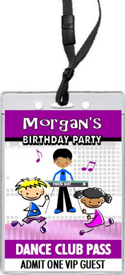 Dance Club Kids Purple Birthday Party VIP Pass Invitation